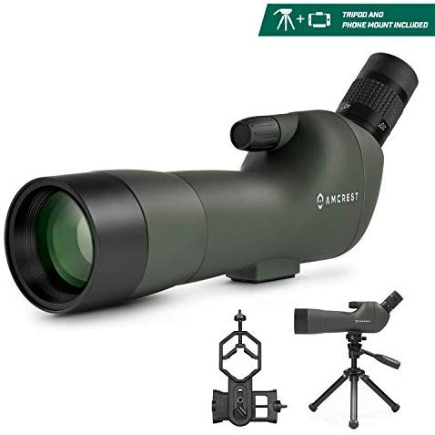Amcrest Spotting Scope for Target Shooting w/Tripod 20-60x60mm, Multi Coated Optical Lens, Waterproof, 36-19m/1000m, Telescope with Universal Smartphone Adapter (AMSS60-G)